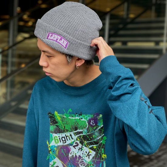<img class='new_mark_img1' src='https://img.shop-pro.jp/img/new/icons1.gif' style='border:none;display:inline;margin:0px;padding:0px;width:auto;' />【LEFLAH】embroiled arch logo knit cap(GRY×PPL)