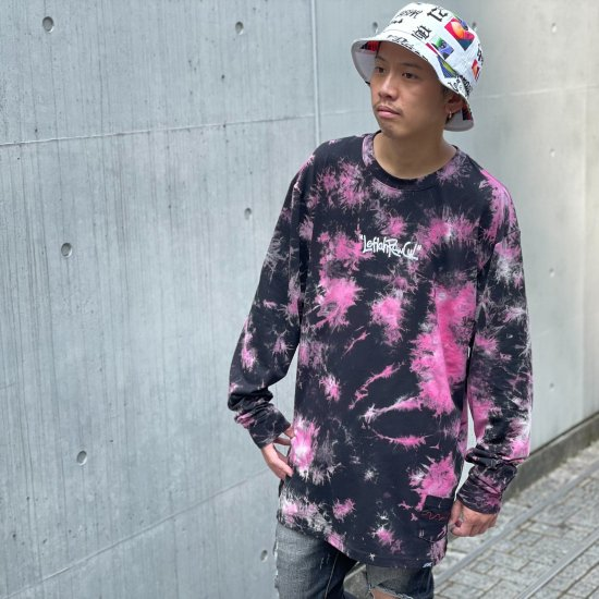 <img class='new_mark_img1' src='https://img.shop-pro.jp/img/new/icons1.gif' style='border:none;display:inline;margin:0px;padding:0px;width:auto;' />【LEFLAH】 hand writing tie-dye long tee(PNK)