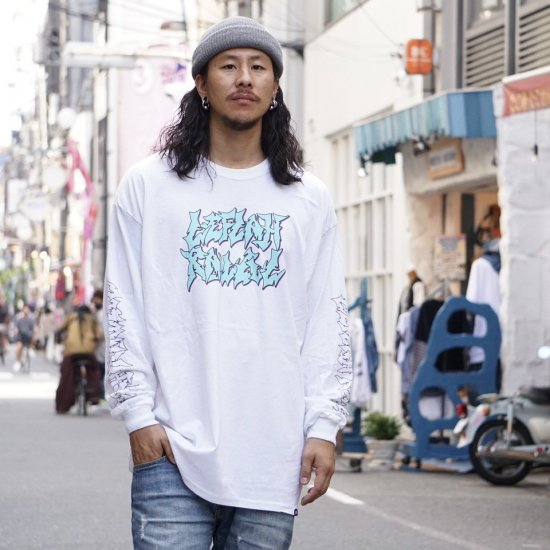 <img class='new_mark_img1' src='https://img.shop-pro.jp/img/new/icons1.gif' style='border:none;display:inline;margin:0px;padding:0px;width:auto;' />【LEFLAH】jagged logo long tee (WHT)
