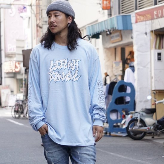 <img class='new_mark_img1' src='https://img.shop-pro.jp/img/new/icons1.gif' style='border:none;display:inline;margin:0px;padding:0px;width:auto;' />【LEFLAH】jagged logo long tee (L.BLU)