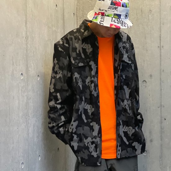 <img class='new_mark_img1' src='https://img.shop-pro.jp/img/new/icons1.gif' style='border:none;display:inline;margin:0px;padding:0px;width:auto;' />【LEFLAH】camouflage denim shirt(BLK)
