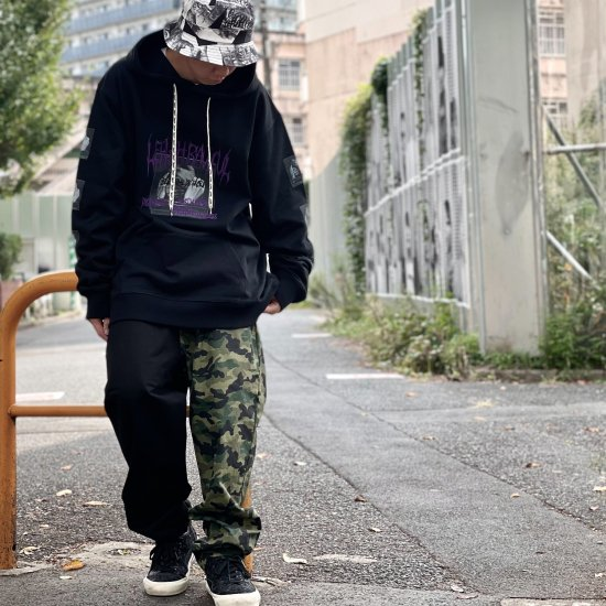 <img class='new_mark_img1' src='https://img.shop-pro.jp/img/new/icons2.gif' style='border:none;display:inline;margin:0px;padding:0px;width:auto;' />【LEFLAH】camouflage × twill easy pants(BLK×CAMO)