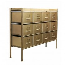 GUIDEL 12 DRAWERS CHEST WIDE SILVER (ギデル 12 ドロワーズ チェスト ワイド シルバー)/JSF(E)