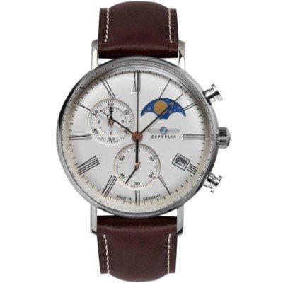 【2018年新作】ツェッペリン腕時計/7194-5/ LZ120 ローマ /ホワイトダイヤル/ブラウンレザー
