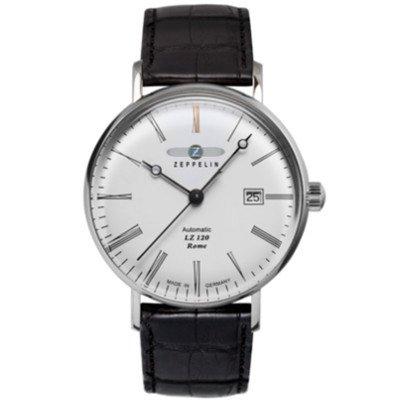 【2018年新作】ツェッペリン腕時計/7154-4 LZ120 ローマ /ホワイトダイヤル/ブラックレザー