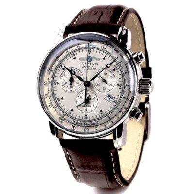 ☆日本語説明あり☆ツェッペリン腕時計/100周年記念モデル/7680-1/アイボリーダイヤル/ブラウンレザー