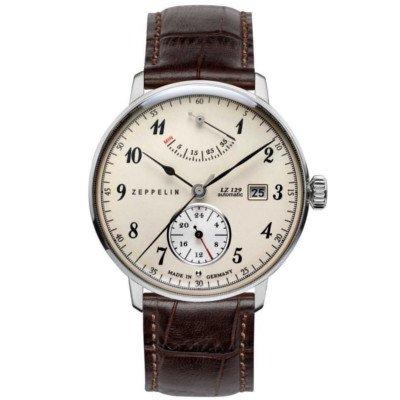 ツェッペリン腕時計/ヒンデンブルク/7060-4/アイボリーダイヤル/ブラウンレザー/自動巻き/パワーリザーブ