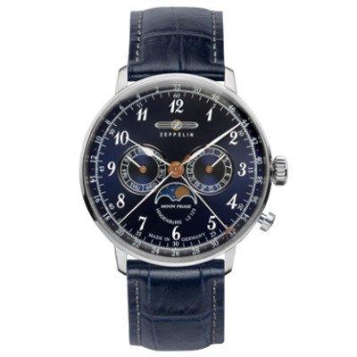 ツェッペリン腕時計/ヒンデンブルク/7036-3/40mmフェイス/ムーンフェイズ/ネイビーダイヤル