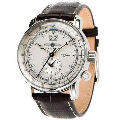 ツェッペリン腕時計/100周年記念モデル/7640-1/アイボリーダイヤル/ブラウンレザー/デュアルタイム/ビッグデイト
