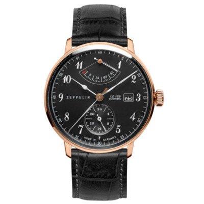 ツェッペリン腕時計/ヒンデンブルク/7064-2/ブラックダイヤル/ブラックレザー/パワーリザーブ