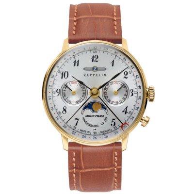 ツェッペリン腕時計/ヒンデンブルク/7039-1/36mmフェイス/ムーンフェイズ/シルバーダイヤル