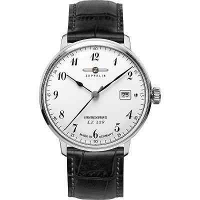 ツェッペリン腕時計/ヒンデンブルク/7046-1/ホワイトダイヤル/ブラックレザー/デイト