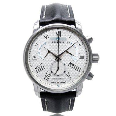 ツェッペリン腕時計/トランスアトランティック/7682-4/シルバーダイヤル/ブラックレザー/クロノグラフ/レトログラード/デイト