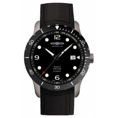 ツェッペリン腕時計/ナイトクルーズ/7264-2/自動巻き/ブラックダイヤル/ブラックラバー/夜光機能/デイト/スケルトンバック
