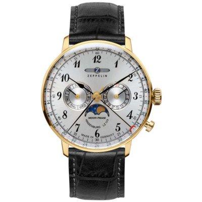 ツェッペリン腕時計/ヒンデンブルク/7038-1/40mmフェイス/ムーンフェイズ/シルバーダイヤル