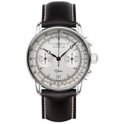 ツェッペリン腕時計/100周年記念モデル/7670-1/アイボリーダイヤル/ブラックレザー /クロノグラフ/デイト